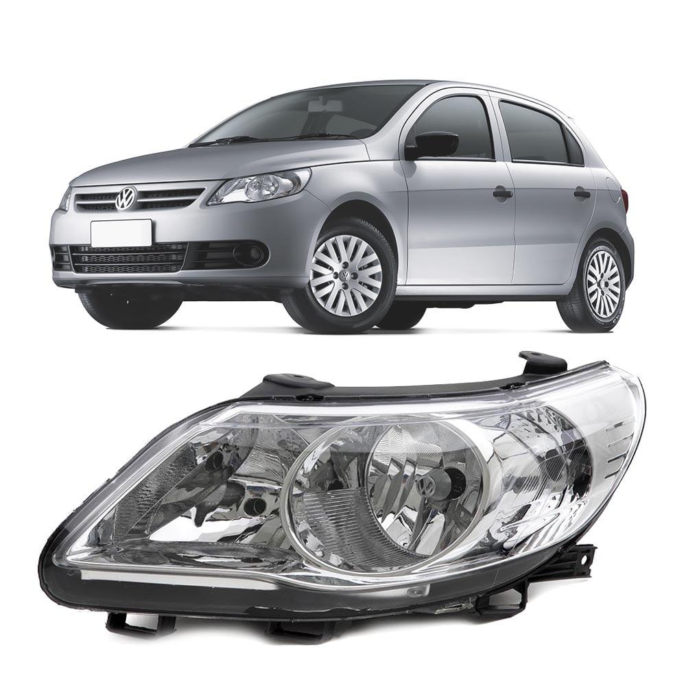 FAROL PRINCIPAL VW GOL VOYAGE SAVEIRO G5 2009 A 2012 FOCO DUPLO CROMADO C/LOGO VW LADO ESQUERDO - 160713 ARTEB