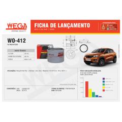 FILTRO DE OLEO WEGA WO412 PSL76 RENAULT KWID 1.0 12V 2017