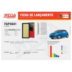 FILTRO DE AR WEGA FAP-4041 ARL2207 - TOYOTA ETIOS 2016 EM DIANTE YARIS 2018 EM DIANTE