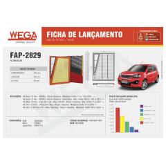 FILTRO DE AR WEGA FAP2829 ARL4161 FIAT ARGO MOBI UNO CRONOS FIREFLY 1.0 1.3