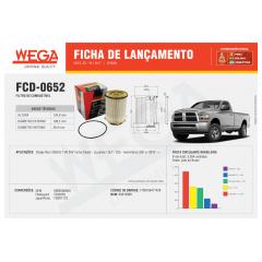 FILTRO DE COMBUSTIVEL DIESEL WEGA FCD0652 DODGE RAM 6.7 V 24V 2010 EM DIANTE