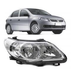 FAROL PRINCIPAL VW GOL VOYAGE SAVEIRO G5 2009 A 2012 FOCO DUPLO CROMADO C/LOGO VW LADO DIREITO - 160714 ARTEB