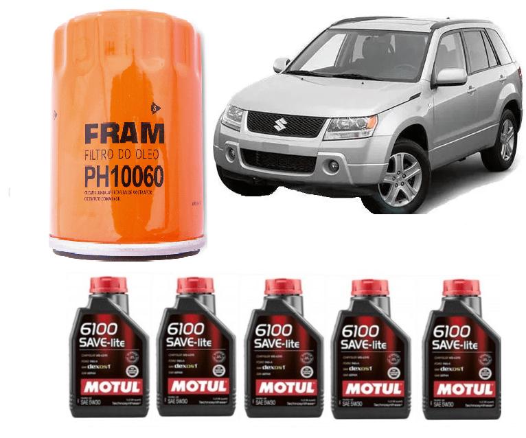 KIT TROCA DE ÓLEO SUZUKI GRAND VITARA 3.2 V6 MOTUL 5W30 + FILTRO DE ÓLEO FRAM PH10060